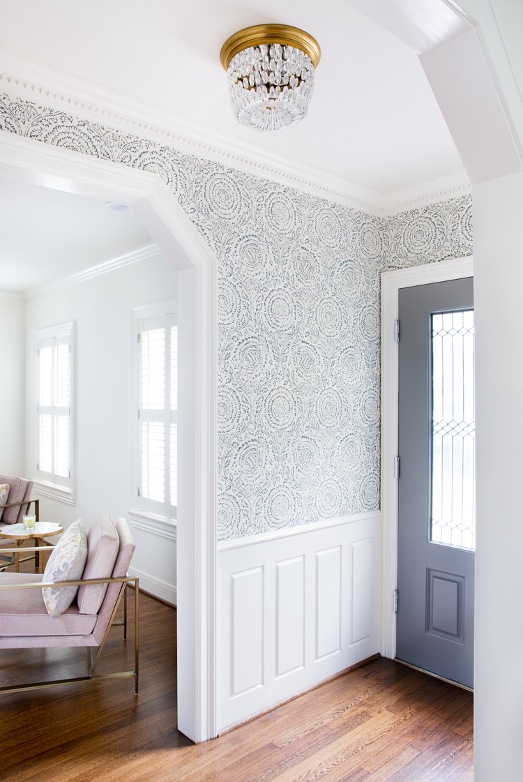 Wallpapered Foyer