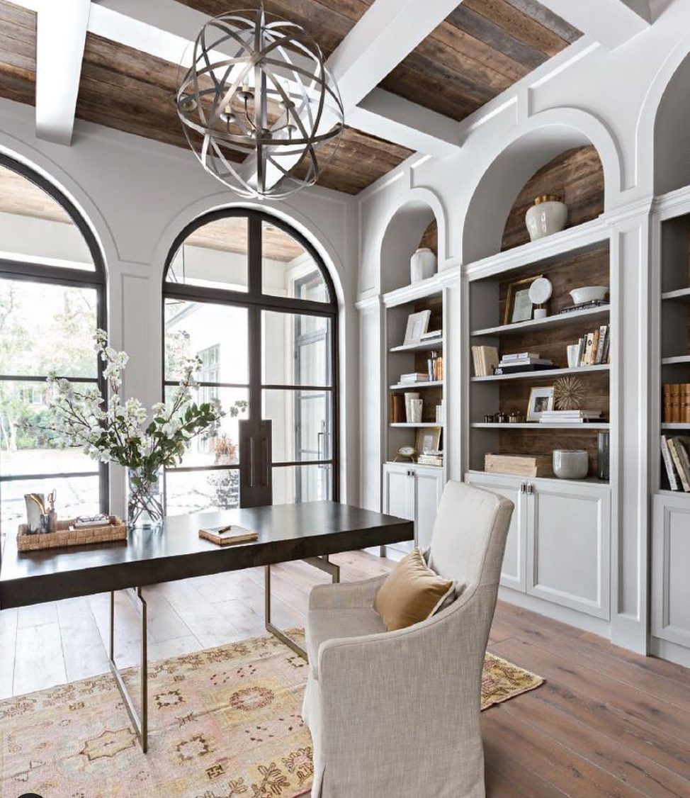 Arched bookshelves